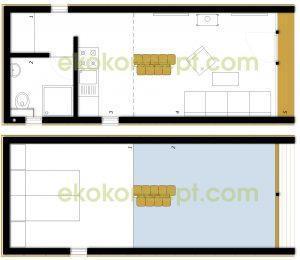 Upper floor Prefabricated house ek 015 / ek 016