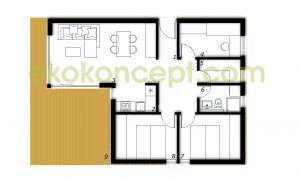 Ground floor Prefabricated house ek 022