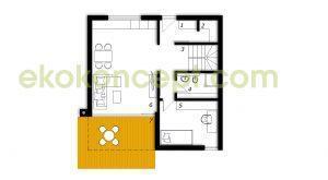 Pritličje Montažna hiša ek 039